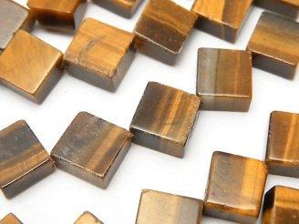 天然石卸 イエロータイガーアイAA++ フラットダイヤ12×12×5 半連/1連(約36cm)