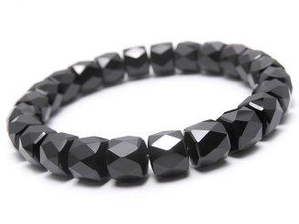 天然石卸 1連1,780円!素晴らしい輝き!オニキスAAA ボタンカット10×10×8 1連(ブレス)