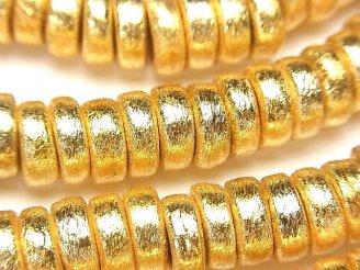 天然石卸 コッパー(銅) ロンデル(ボタン)10×10×5mm 18KGP 半連/1連(約17cm)