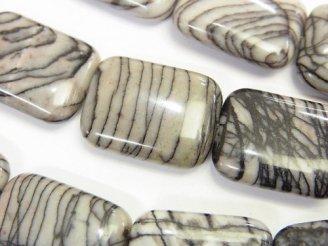 天然石卸 1連580円!ゼブラジャスパー レクタングル20×15×5 1連(約38cm)