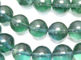 天然石卸 高品質ブルーグリーンフローライトAAA ラウンド12mm 半連/1連(約38cm)
