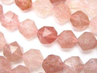 天然石卸 ピンクエピドートAA++ 24面ラウンドカット10mm 半連/1連(約36cm)