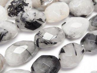 天然石卸 トルマリンクォーツAA タンブルカット 半連/1連(約37cm)