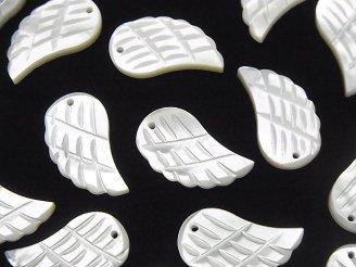天然石卸 高品質ホワイトシェルAAA 天使の羽根 18×10×2mm 3粒580円!