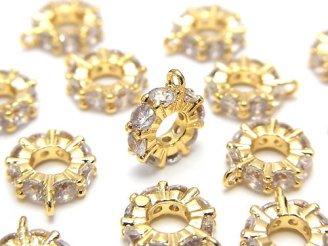 天然石卸 メタルパーツ カン付きロンデル【6mm】【9mm】 ゴールドカラー(CZ付) 2個