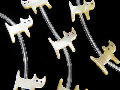 高品質マザーオブパールAAA ベージュ ベージュ 猫シェイプ 半連/1連(約12粒)