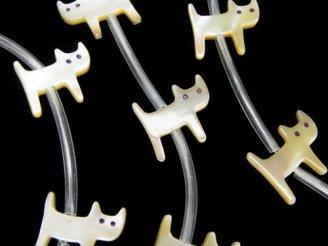 天然石卸 高品質マザーオブパールAAA 猫シェイプ ベージュ 半連/1連(約12粒)