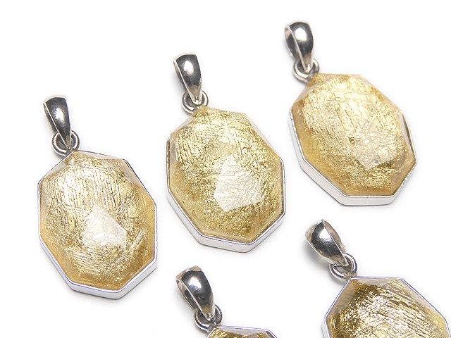 メテオライト(ムオニナルスタ隕石) 八角形型ペンダントトップ16×12×7mm イエローゴールド SILVER925製