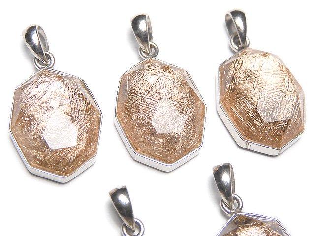 メテオライト(ムオニナルスタ隕石) 八角形型ペンダントトップ16×12×7mm ピンクゴールド SILVER925製
