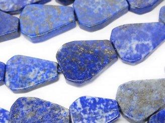 天然石卸 ラピスラズリAA フラットペアシェイプ〜タンブル 半連/1連(約38cm)