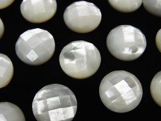 天然石卸 高品質ホワイトシェル(白蝶貝)AAA ラウンド型カボションカット 12×12×4 4粒580円!