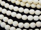 天然石卸 1連980円!ホワイトコーラル(白珊瑚) ラウンドカット6mm 1連(約38cm)