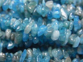 天然石卸 1連580円!ブルーアパタイトAA++ チップ(ミニタンブル) 1連(約82cm)