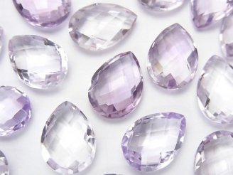 天然石卸 宝石質ピンクアメジストAAA 穴なしペアシェイプカット14×10×5 3粒780円!
