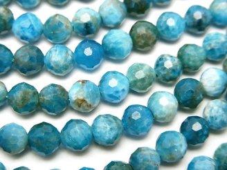 天然石卸 素晴らしい輝き!ブルーアパタイトAA++ 128面ラウンドカット6mm 半連/1連(約36cm)