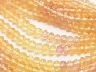天然石卸 極上カット!宝石質インペリアルトパーズAAA+ ボタンカット 1/4連〜1連(約38cm)
