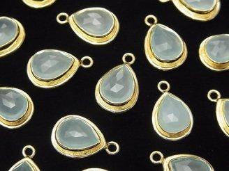 天然石卸 宝石質シーブルーカルセドニーAAA 枠付ペアシェイプカット14×9×5 18KGP 1個780円!