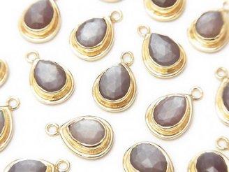 天然石卸 宝石質ブラウンムーンストーンAAA- 枠付ペアシェイプカット14×9×5 18KGP 1個780円!