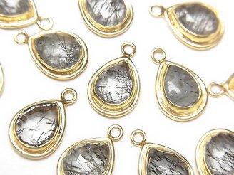 天然石卸 宝石質トルマリンクォーツAAA 枠付ペアシェイプカット14×9×5mm 18KGP 1個780円!