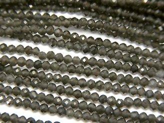 天然石卸 1連580円!素晴らしい輝き!ブラックオブシディアンAAA 極小ボタンカット2×2×1.7mm 1連(約37cm)