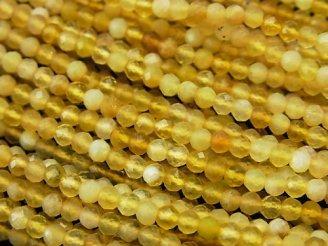 天然石卸 1連980円!素晴らしい輝き!イエローオパールAAA- ボタンカット3×3×2mm 1連(約36cm)