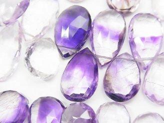 天然石卸 宝石質エレスチャルクォーツAAA ペアシェイプ ブリオレットカット 半連/1連(約20cm)