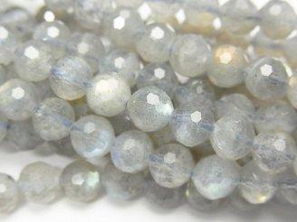 天然石卸 素晴らしい輝き!ラブラドライトAA+〜AA 128面ラウンドカット6mm 半連/1連(約37cm)