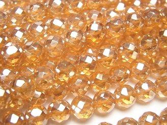 天然石卸 オレンジフラッシュクリスタル 64面ラウンドカット6mm 半連/1連(約36cm)