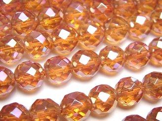 天然石卸 オレンジフラッシュクリスタル 64面ラウンドカット8mm 半連/1連(約38cm)
