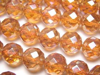 天然石卸 オレンジフラッシュクリスタル 64面ラウンドカット10mm 半連/1連(約36cm)