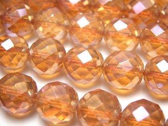 天然石卸 オレンジフラッシュクリスタル 64面ラウンドカット12mm 半連/1連(約36cm)