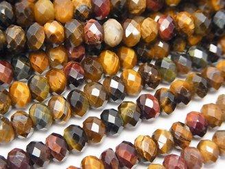天然石卸 素晴らしい輝き!タイガーアイAA++ 3色ミックス ボタンカット6×6×4mm 半連/1連(約37cm)