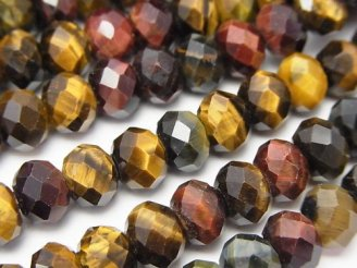 天然石卸 素晴らしい輝き!タイガーアイAA++ 3色ミックス ボタンカット8×8×6mm 半連/1連(約37cm)