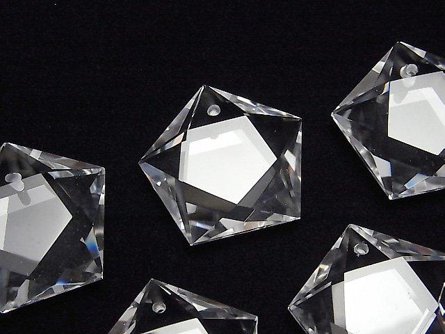素晴らしい輝き!天然クリスタルAAA 穴あき五芒星形カット25×26×9mm 1個