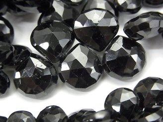 天然石卸 宝石質ブラックトルマリンAAA- マロン ブリオレットカット サイズグラデーション 半連/1連(約18cm)
