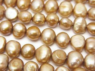 天然石卸 1連480円!淡水真珠AA バロック7〜8mm シャンパンゴールド 1連(約32cm)