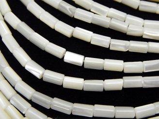 天然石卸 1連380円!マザーオブパール チューブ5×3×3 ホワイト 1連(約38cm)