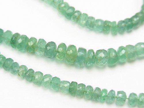【1点もの】ザンビア産宝石質エメラルドAAA-〜AA++ ボタンカット 1連(約38cm) NO.1