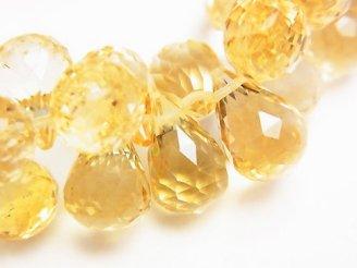 天然石卸 宝石質シトリンAAA トライアングル ドロップブリオレットカット11×11×7 5粒〜1連(ブレス)