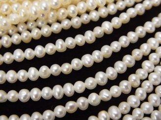 天然石卸 1連1,680円!淡水真珠AAA ポテト3.5mm ホワイト 1連(約38cm)