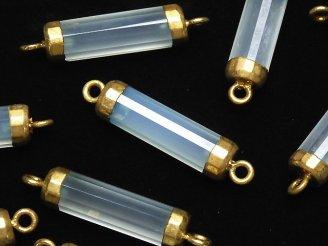 天然石卸 2個1,480円!宝石質シーブルーカルセドニーAAA チューブカット 【両カン】 ゴールドコーティング 2個