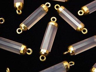 天然石卸 2個1,480円!宝石質ピンクカラーカルセドニーAAA チューブカット 【両カン】 ゴールドコーティング 2個