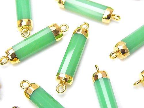 宝石質グリーンカラーカルセドニーAAA チューブカット 【両カン】 ゴールドコーティング 2個