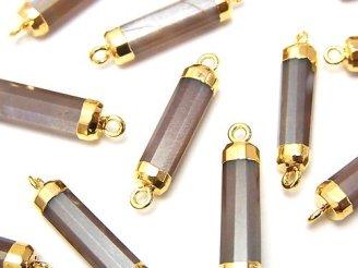 天然石卸 2個1,480円!宝石質ブラウンムーンストーンAAA- チューブカット 【両カン】 ゴールドコーティング 2個