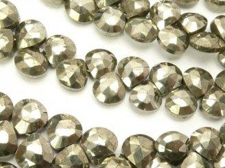天然石卸 1連1,280円!宝石質ゴールデンパイライトAAA- マロン ブリオレットカット 1連(約18cm)