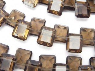 天然石卸 宝石質スモーキークォーツAAA レクタングルファセットカット11×9×5 1/4連〜1連(約16cm)