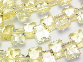 天然石卸 宝石質レモンクォーツAAA レクタングルファセットカット10×8×6 3粒〜1連(約16cm)