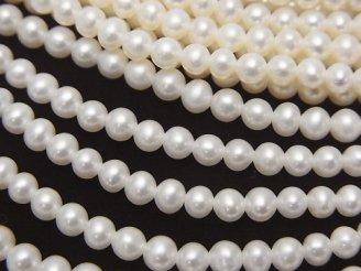 天然石卸 1連2,380円!淡水真珠AAA セミラウンド3.5〜4mm ホワイト 1連(約38cm)