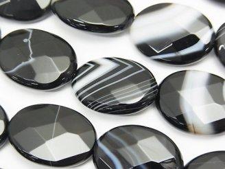 天然石卸 ストライプオニキス オーバルカット20×15×5 半連/1連(約36cm)