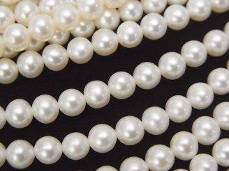 天然石卸 1連2,780円!淡水真珠AAA ラウンド5mm ホワイト 1連(約38cm)